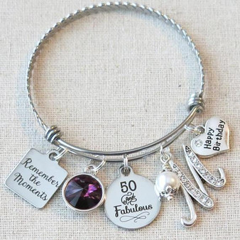 50th Birthday Gift - Remember the Moments Birthday Bracelet