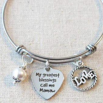 My Greatest Blessings Call Me Mamaw Bracelet - Gift for MAMAW
