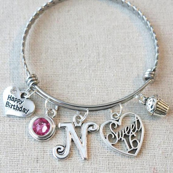 16th BIRTHDAY Gift - Sweet Sixteen Birthstone Bracelet