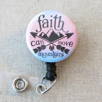 BIBLE VERSE Badge Reel - FAITH Can Move Mountains Matthew 17:20 Religious Retractable Badge Holder