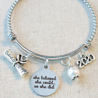 2020 GRADUATION Gift Bangle Bracelet - She Believed She Could So She Did Inspirational Gift