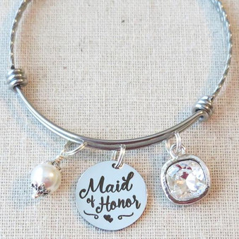 Maid of Honor Crystal Bracelet - Maid of Honor Proposal Gift