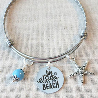 LIFE Is BETTER At The BEACH Bracelet - Beach Starfish Charm Gifts