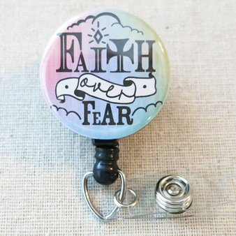 BIBLE VERSE Badge Reel - Faith Over Fear Psalm 56:4 Religious Retractable Badge Holder
