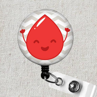 PHLEBOTOMIST Badge Reel - RED PHLEBOTOMY Blood Drop Badge Reel, Blood Donor Center Lab Tech Badge Holder, Happy Blood Drop ID Badge Holder