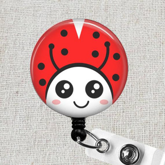 LADYBUG Badge Reel - Red Ladybug Retractable Name Badge Holder, Pediatric Badge Holder, Teacher ID Badge Reel, Nurse ID Ladybug Badge Holder