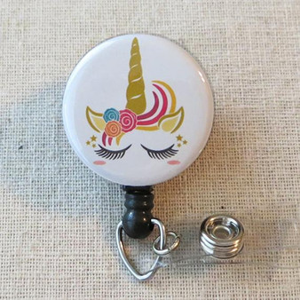 UNICORN Badge Reel - Fantasy Unicorn Nurse Retractable Name Badge Holder, Pediatric Badge Holder