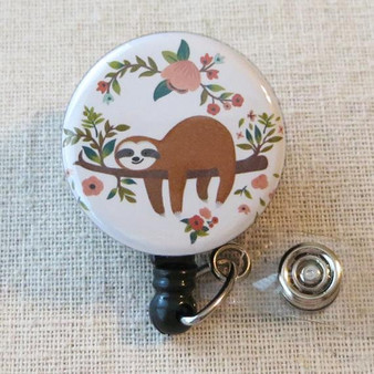 Cute SLOTH Badge Reel - Sloth Retractable Name Badge Holder, Pediatric ID Badge Reel, Teacher ID Badge Holder