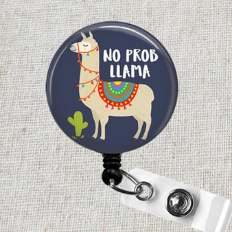 No Prob Llama Retractable Name Badge Holder - Cute LLAMA Badge Reel, Pediatric Badge Holder