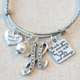 MAID OF HONOR Gift - Personalized Maid of Honor Thank You for Standing By My Side Bracelet