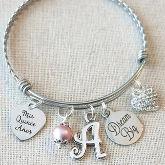 CUSTOM Quinceañera Bangle - Dream Big 15th Birthday Gift for Teenager, Mis Quince Años Bracelet