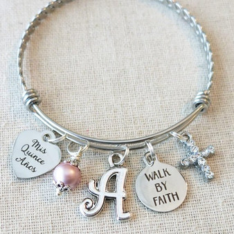 Mis Quince Años Quinceañera Bracelet - Walk By Faith Sweet 15 Gift for Teenager