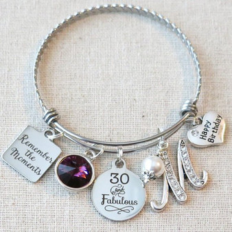 30th Birthday Gift - Remember the Moments 30 and Fabulous Birthday Bracelet
