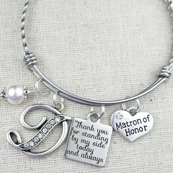 MATRON OF HONOR Gift - Personalized Matron of Honor Thank You for Standing By My Side Bracelet