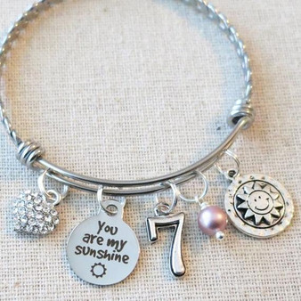 YOU Are MY SUNSHINE Bracelet Jewelry - 7th Birthday Charm Bracelet Little Girl Gift