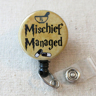 MISCHIEF MANAGED Retractable Name Badge Holder - Cute Mischief Managed Rx Badge Reel, Pharmacy Badge Holder