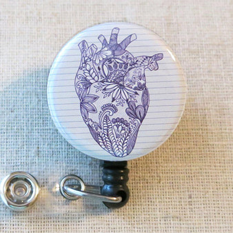 ANATOMICAL HEART Badge Reel, Human Heart Retractable Badge Reel, Heart Anatomy ID Holder, Cardiac Nurse Badge Holder, Cardiologist Gift
