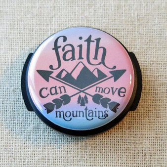 FAITH Can Move MOUNTAINS Stethoscope Name ID Tag, Inspirational Faith Hope Nurse Stethoscope Accessories, Religious Stethoscope Button Tag