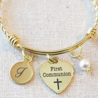 FIRST COMMUNION Bracelet, Girls First Communion Gift, Religious Cross Jewelry, Personalized 1st Communion Charm Bracelet, Goddaughter Gift