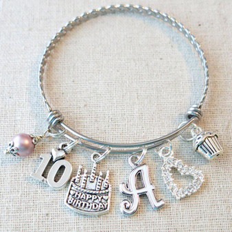 Personalized 10th BIRTHDAY GIRL Gift - 10th Birthday Charm Bracelet