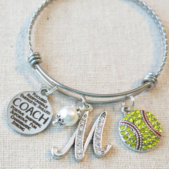 SOFTBALL COACH Gift, Custom Softball Coach Charm Bracelet, Thank You Coach Gifts from Softball Team, Softball Coach Appreciation Gift