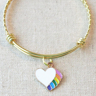 Girls RAINBOW HEART Unicorn Bracelet, Little Girl Bracelet, Rainbow Charm Bracelet, Unicorn Party Charm Bracelet, Little Girl Fantasy Jewelry