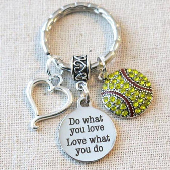 Senior Night SOFTBALL Gift, Do What You Love-Love What You Do Softball Keychain, SOFTBALL COACH Mom Gift, Softball Player Team Gifts