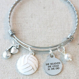 VOLLEYBALL Gifts for Her, Senior Night Volleyball Bangle Bracelet, Volleyball Team Gifts, Varsity Volleyball Inspirational Gift For Graduate
