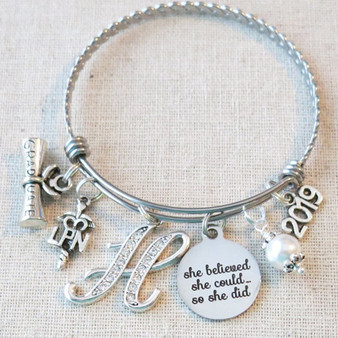 2019 LPN Graduation Gift, She Believed She Could So She Did NURSE Graduation Gift, Personalized Nurse Graduate Bracelet, Graduation Gifts For Nurses
