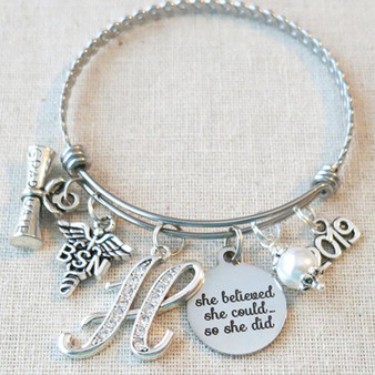 2019 RN BSN Graduation Gift, She Believed She Could So She Did BSN Gift, Custom Nurse Graduate Gift Charm Bracelet, Nurse Graduate Ceremony