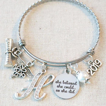 2019 NP Nurse Practitioner Gift, She Believed She Could So She Did NP Achievement Gifts, Personalized NP Graduation Gift Charm Bracelet