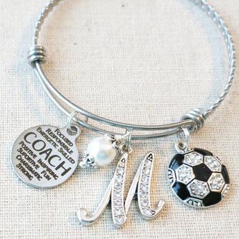 SOCCER COACH Gift, Custom Soccer Coach Charm Bracelet, Coach Gifts from Soccer Team, Soccer Coach Thank You, Soccer Coach Appreciation Gift
