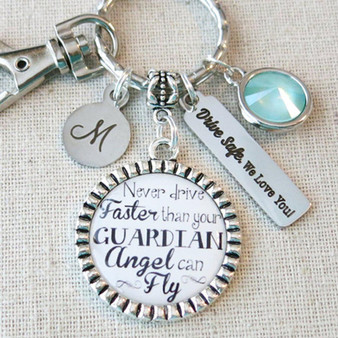 Personalized NEW DRIVER Gift, TYPOGRAPHY Never Drive Faster Than Your Guardian Angel Can Fly Keychain, Drive Safe - We Love You Keychain