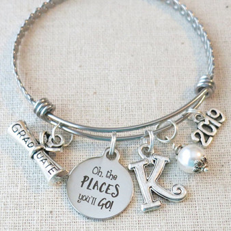 2019 GRADUATION GIFT Bangle Bracelet, Oh The Places You'll Go Jewelry Bracelet, Personalized 2019 Graduation Gifts, 2019 Senior Night Gift