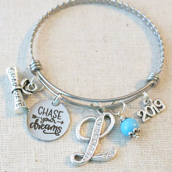 2019 GRADUATION Gift Bracelet, Chase Your Dreams Inspirational Gift, Personalized 2019 College Graduate Bracelet, Custom Gifts for Graduates