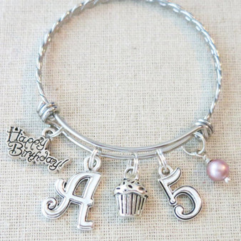 PERSONALIZED 5th BIRTHDAY GIRL Bracelet - Little Girl Birthday Gifts