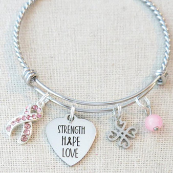 Breast Cancer Awareness Bracelet, STRENGTH HOPE LOVE Awareness Bracelet, Cancer Encouragement Gifts, Fight Cancer Pink Ribbon Charm Bracelet