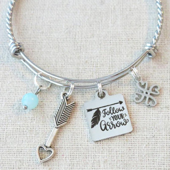 FOLLOW YOUR ARROW Ladies Bracelet, Follow Your Arrow Motivational Gifts for Her, Inspirational Arrow Bracelet for Women, Graduation Gift for Her