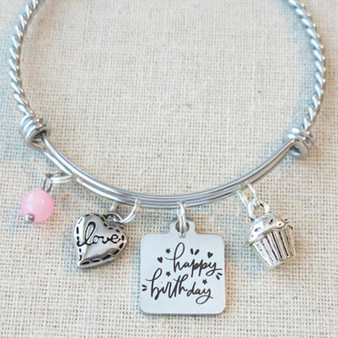 BIRTHDAY BRACELET, Happy Birthday Charm Bangle, Birthday Gift for Women, Celebrate Birthday Gift for Friend, Milestone Birthday Bracelet