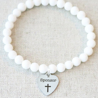 CONFIRMATION SPONSOR Gift, Natural White Tridacna Stone Beaded Stretch Charm Bracelet, Catholic Confirmation Sponsor Mentor Thank You Gift