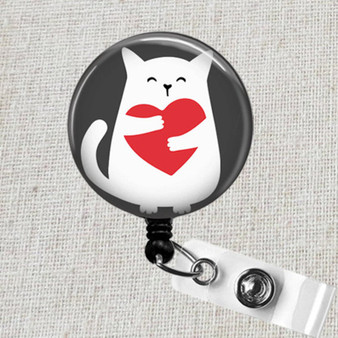 VALENTINE CAT Badge Reel, Cat Retractable Badge Reel, Vet Tech Cat Badge Holder Gift, Cat Kitten Nurse Badge Clip, Kitty Cat Lover Badge Reel