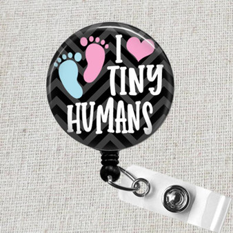 I Love Tiny Humans Retractable Badge Reel, NICU L&D OB Pediatric Badge, Unique Neonatal Nurse Baby Feet Gift, Baby Feet Button Badge Holder