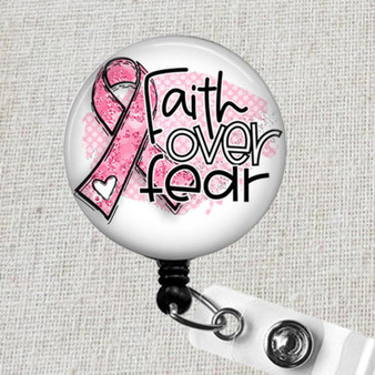 FAITH Over FEAR Cancer Support Badge Reel, Oncology Nurse Badge Holder, Oncologist Badge Clips, Pink Breast Cancer Ribbon Nurse ID Badge
