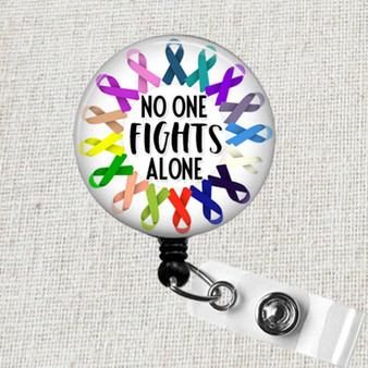 All CANCER AWARENESS Retractable Badge Reel, No One Fights Alone Cancer Awareness Ribbon Badge Reel, Oncology Nurse Breast Cancer Badge Reel