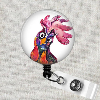 CRAZY ROOSTER Retractable Badge Reel, Funny Rooster Badge ID Holder, Animal Badge Reel, Cute Teacher Badge Reel, Cute Rooster Badge Clip