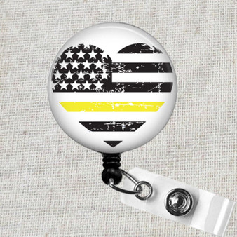Thin GOLD LINE Badge Reel, First Responder Retractable ID Badge Reel, Yellow Line Badge Reel, 911 Police Dispatcher Gold Line Flag Badge Clip