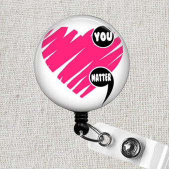 YOU MATTER Retractable ID Badge Reel, Mental Health Awareness You Matter Badge Clip, You Matter Gift, Mental Health You Matter Badge Holder