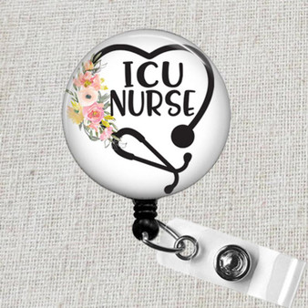 ICU Intensive Care Unit Nurse Badge Reel, ICU Nurse Retractable Badge Holder, ICU Medical Accessories, Intensive Care Nurse Gifts