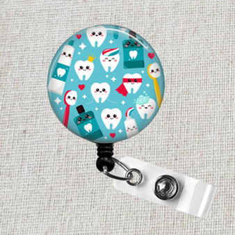 Kawaii Clean TOOTH Badge Reel, Dentist Gift, Toothbrush Badge Reel, Cute Teeth Badge Clip, Dental Care Tooth Badge Clip, Dental Hygienist Badge Gift