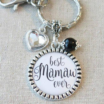 BEST MAMAW EVER Charm, Mamaw Charm Keychain Bag Clip, Gift for New Mamaw, Christmas Grandparent Gifts from Grandkids, Love Mamaw Birthday Gift